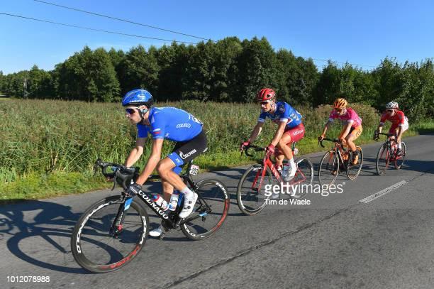Alexander Foliforov of Russia and Team GazpromRusvelo / Jenthe Biermans of Belgium and Team Katusha Alpecin Blue Most Aggressive Rider Jersey /...