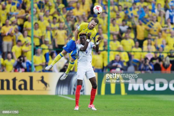Alexander Fransson of Sweden and Tammy Abraham of England in a header duel during the UEFA European Under21 Championship match between Sweden and...