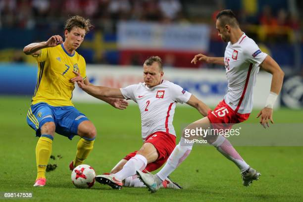 Alexander Fransson Pawel Jaroszynski Jaroslaw Jach during the UEFA U21 match between Poland and Sweden at Arena Lublin on June 19 2017 in Lublin...