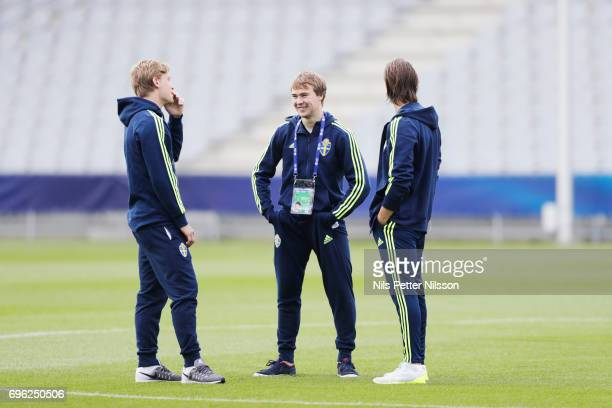 Alexander Fransson Simon Tibbling and Kristoffer Olsson during the Swedish U21 national team familiarization session at Arena Kielce on June 15 2017...