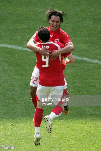 Alexander Frei and Hakan Yakin of Switzerland celebrate their victory over Togo after the FIFA World Cup Germany 2006 Group G match between Togo and...