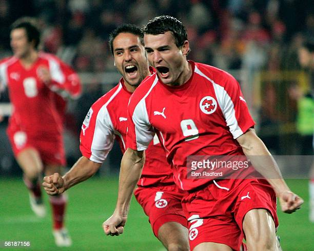Alexander Frei celebrates scoring early for Switzerland during the FIFA World Cup Playoff, 2nd Leg match between Turkey and Switzerland at The Sukru...