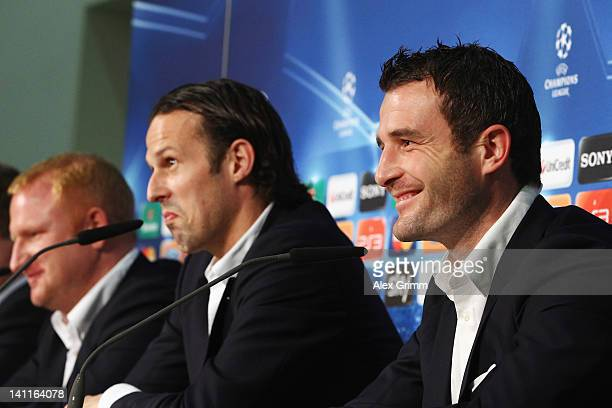 Alexander Frei Marco Streller and head coach Heiko Vogel attend a FC Basel press conference ahead of their UEFA Champions League Round of 16 second...
