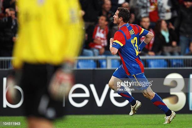Alexander Frei of Basel celebrates his team's first goal during the UEFA Champions League group E match between FC Basel and FC Bayern Muenchen at...
