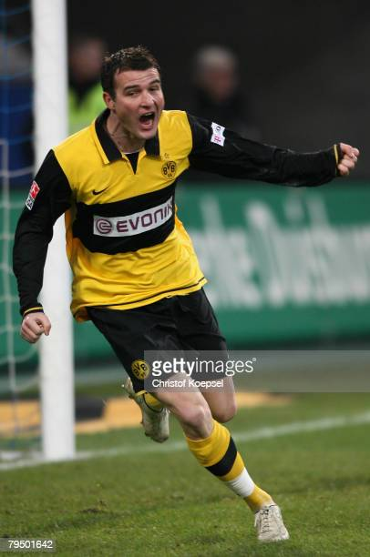 Alexander Frei of Dortmund celebrates a goal during the Bundesliga match between MSV Duisburg and Borussia Dortmund at the MSV Arena on February 2...