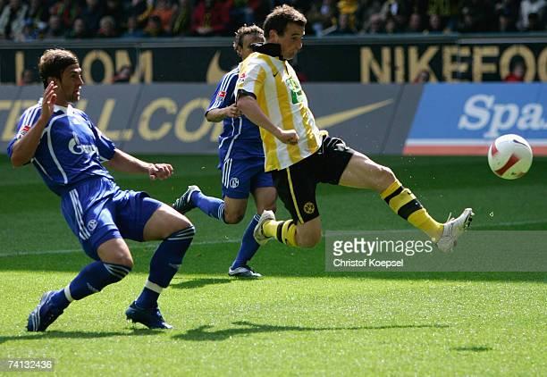 Alexander Frei of Dortmund shoots the first goal past Marcelo Bordon of Schalke during the Bundesliga match between Borussia Dortmund and FC Schalke...