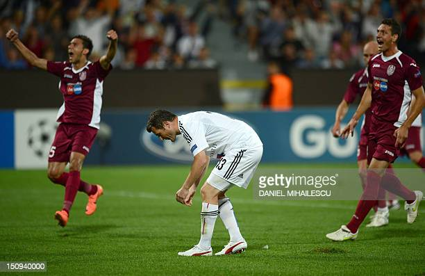 Alexander Frei of FC Basel 1893 reacts after he missed a penalty against CFR Cluj 1907 during playoff football match of UEFA Champions League in...