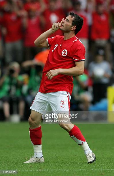 Alexander Frei of Switzerland celebrates scoring a goal during the FIFA World Cup Germany 2006 Group G match between Togo and Switzerland at the...