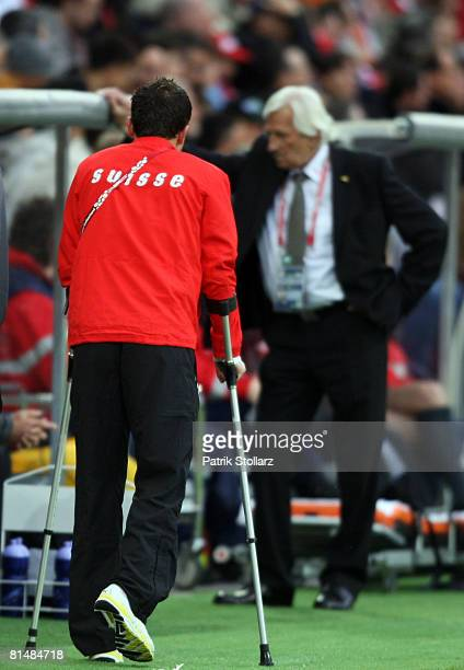 Alexander Frei of Switzerland walks with crutches after an injury during the Euro 2008 Group A match between Switzerland and Czech Republic at St....