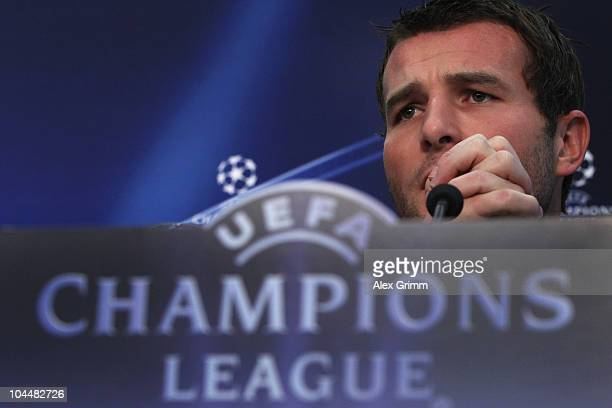 Alexander Frei pauses during the press conference of FC Basel at the St Jakob Park stadium ahead of their Champions League first round match against...
