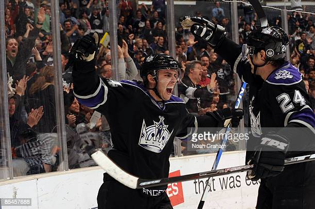 Alexander Frolov and Teddy Purcell of the Los Angeles Kings celebrates a secondperiod goal by Teddy Purcell during the game against the Nashville...