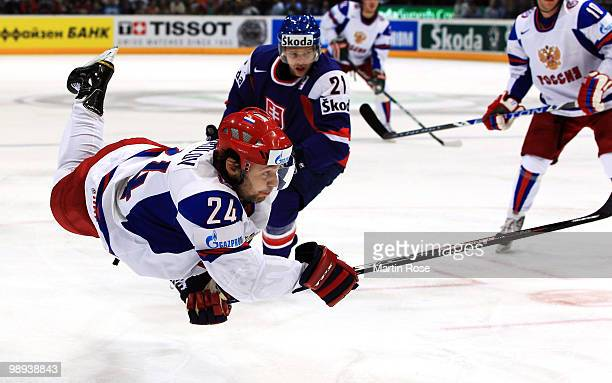 Alexander Frolov of Russia fires a shot at goal during the IIHF World Championship group A match between Slovakia and Russia at Lanxess Arena on May...