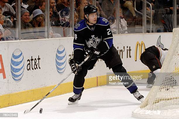 Alexander Frolov of the Los Angeles Kings controls the puck during the game against the Anaheim Ducks on November 15 2007 at the Staples Center in...