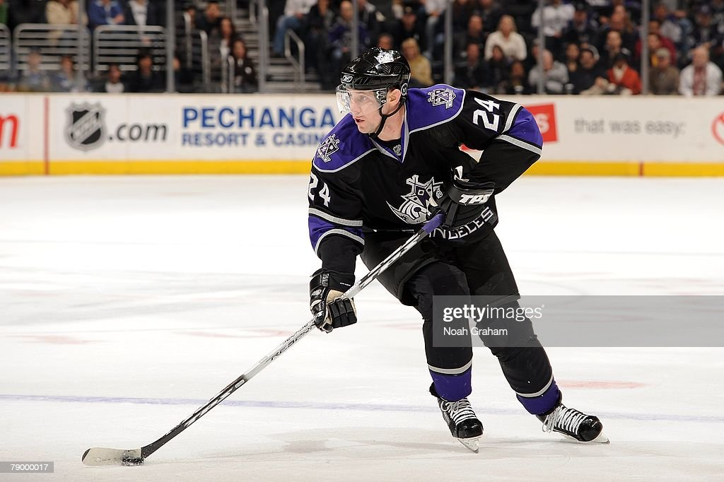 Alexander Frolov #24 of the Los Angeles Kings handles the puck during the game against the Dallas Stars on January 12, 2008 at Staples Center in Los Angeles, California.