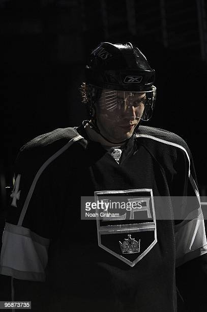 Alexander Frolov of the Los Angeles Kings heads to the ice from the dressing room prior to the game against the Anaheim Ducks during the game on...