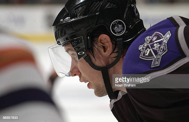 Alexander Frolov of the Los Angeles Kings lines up in position for the faceoff against the Edmonton Oilers on January 26 2006 at the Staples Center...