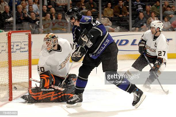 Alexander Frolov of the Los Angeles Kings scores against Ilya Bryzgalov of the Anaheim Ducks in NHL action March 1 2007 at the Staples Center in Los...