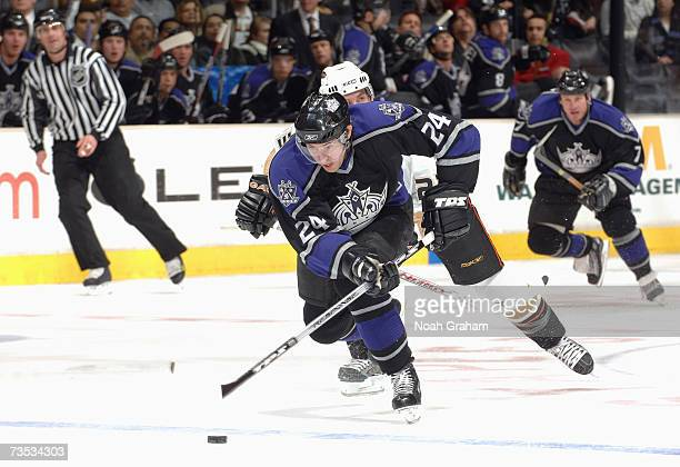 Alexander Frolov of the Los Angeles Kings skates against the Anaheim Ducks during their NHL game on March 1 2007 at the Staples Center in Los Angeles...