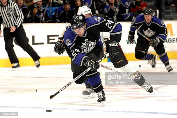Alexander Frolov of the Los Angeles Kings skates on a breakaway against the Anaheim Ducks in NHL action March 1 2007 at the Staples Center in Los...