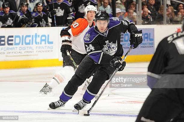 Alexander Frolov of the Los Angeles Kings skates with the puck against the Philadelphia Flyers on November 18 2009 at Staples Center in Los Angeles...