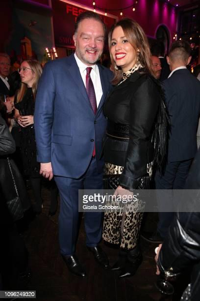 Alexander Fuerst zu Schaumburg-Lippe and his girlfriend Mahkameh Navabi during the BUNTE & BMW Festival Night at Restaurant Gendarmerie during the...