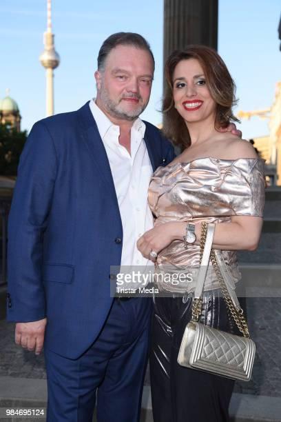 Alexander Fuerst zu Schaumburg-Lippe and his girlfriend Mahkameh Navabi attend the BURDA Summer Party on June 26, 2018 in Berlin, Germany.