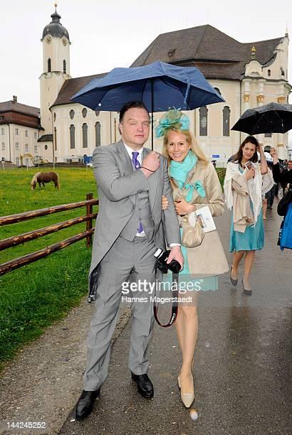 Alexander Fuerst zu SchaumburgLippe and his wife Nadja attend the wedding of Princess Felipa von Bayern and Christian Dienst at Wieskirche on May 12...