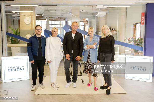 Alexander Fury Anna Orsini Jonathan Saunders Pandora Sykes and Isabella Burley attend the launch of The House of Peroni on July 16 2018 in London...