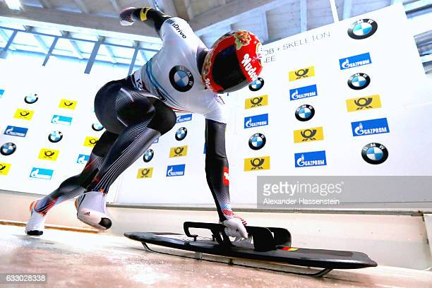 Alexander Gassner of Germany competes during the Men's Skeleton first run of the BMW IBSF World Cup at Deutsche Post Eisarena Koenigssee on January...