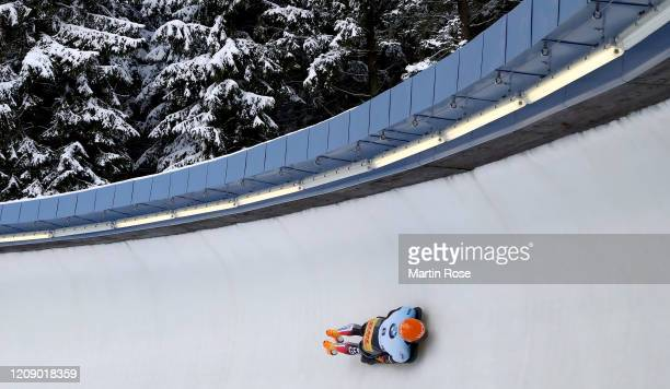 Alexander Gassner of Germany in action during the second heat for the Men's Skeleton on day seven of the BMW IBSF World Championships Altenberg 2020...