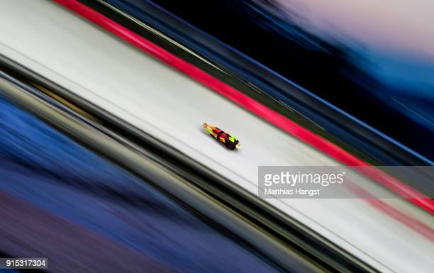 Alexander Gassner of Germany practices during Men's Skeleton training ahead of the PyeongChang 2018 Winter Olympic Games at the Olympic Sliding...