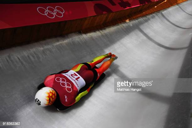Alexander Gassner of Germany slides during the Men's Skeleton heats on day six of the PyeongChang 2018 Winter Olympic Games at the Olympic Sliding...