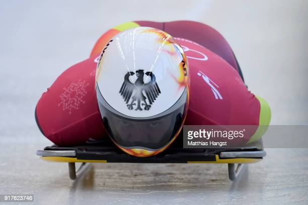 Alexander Gassner of Germany trains during the Mens Skeleton training session on day four of the PyeongChang 2018 Winter Olympic Games at Olympic...
