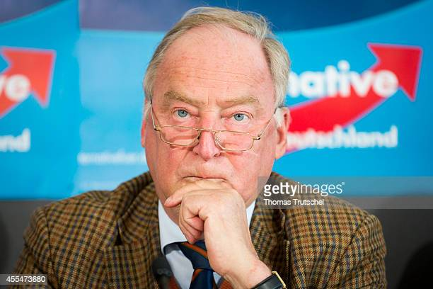Alexander Gauland AfD candidate for Brandenburg pictured during a press conference on September 15 2014 in Berlin Germany The party which is...