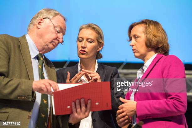 Alexander Gauland Alice Weidel and Beatrix Von Storch of the rightwing Alternative for Germany political party attend the AfD federal congress on...