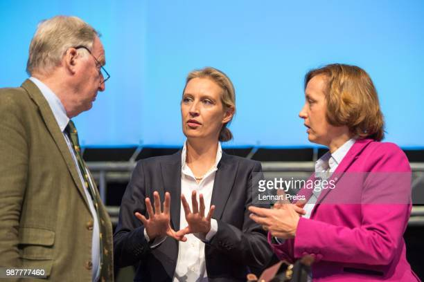 Alexander Gauland , Alice Weidel and Beatrix Von Storch of the right-wing Alternative for Germany political party attend the AfD federal congress on...