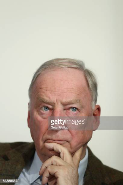 Alexander Gauland and Alice Weidel colead candidates of the rightwing populist Alternative for Germany political party speak to the media on Islam...