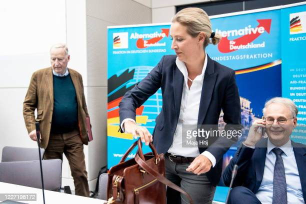 Alexander Gauland and Alice Weidel the two coheads of the Bundestag faction of the rightwing Alternative for Germany political party arrive for a...