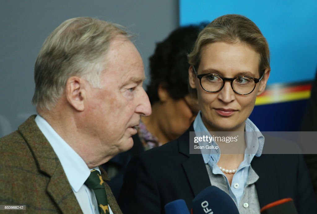 Alexander Gauland and Alice Weidel, who will lead the new Bundestag faction of the right-wing Alternative for Germany (AfD), speak to the media before meeting with party members to create the AfD Bundestag faction on September 26, 2017 in Berlin, Germany. The AfD came in third place with 12.6%, which gives it 94 seats in the Bundestag, the German parliament. One seat will however go to Frauke Petry, a leading AfD member from Saxony who in a surprise move announced yesterday that she will not join the AfD faction and instead serve as an independent.