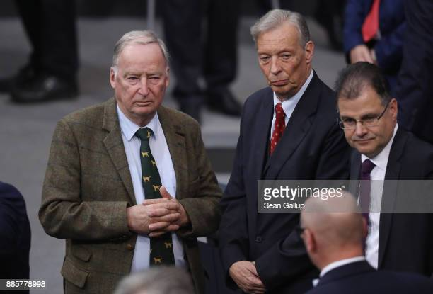 Alexander Gauland and ArminPaul Hampel of the rightwing Alternative for Germany attend the opening session of the new Bundestag on October 24 2017 in...