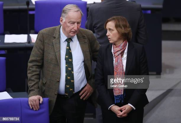 Alexander Gauland and Beatrix von Storch of the rightwing Alternative for Germany attend the opening session of the new Bundestag on October 24 2017...