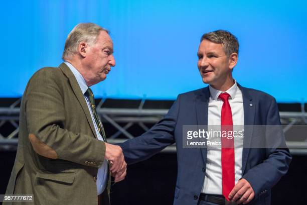 Alexander Gauland and Bjoern Hoecke of the right-wing Alternative for Germany political party attend the AfD federal congress on June 30, 2018 in...