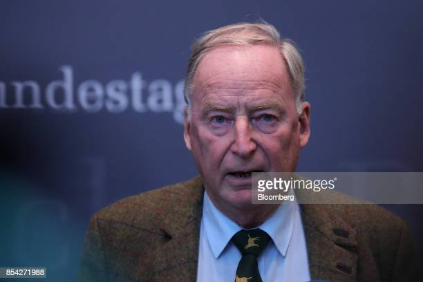 Alexander Gauland candidate for Alternative for Germany party speaks during a news conference in Berlin Germany on Tuesday Sept 26 2017 AfD the...