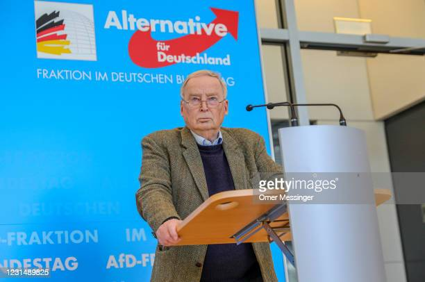 Alexander Gauland, co-Bundestag faction leader of the right-wing AfD political party, speaks to the media following news that Germany's Office for...