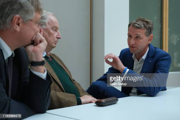 Alexander Gauland , co-Bundestag faction leader of the right-wing Alternative for Germany , AfD Thuringia candidate Bjoern Hoecke and AfD federal...