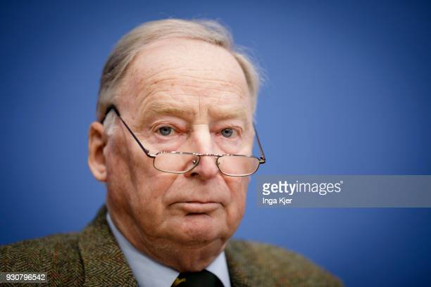 Alexander Gauland faction leader of the rightwing Alternative for Germany political party gives a press conference regarding the coalition agreement...