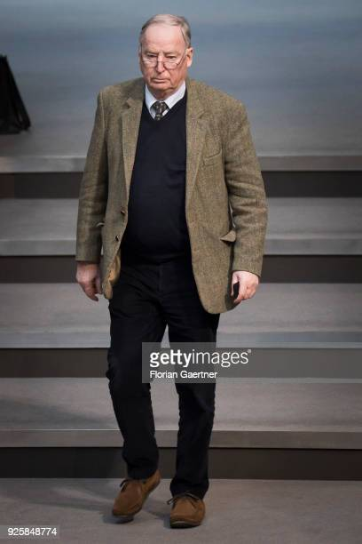 Alexander Gauland leader of the AfD Bundestag faction arrives during a plenary session at the German Bundestag on February 28 2018 in Berlin Germany