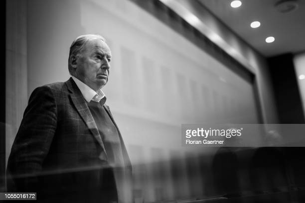 Alexander Gauland leader of the AfD Bundestag faction is pictured after a press conference about the election in Hesse one day before on October 29...