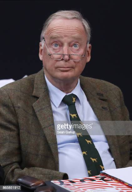 Alexander Gauland of the rightwing Alternative for Germany attends the opening session of the new Bundestag on October 24 2017 in Berlin Germany...