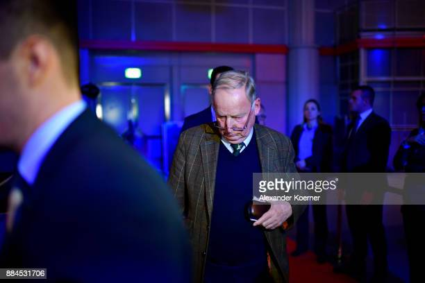 Alexander Gauland of the rightwing Alternative for Germany reacts after winning the election as cochairman after Georg Pazderski and Doris von Sayn...